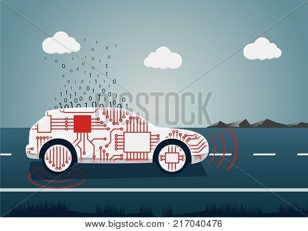 Smart connected car vector illustration. Car icon with sensors and big data upload as example for digital mobility.