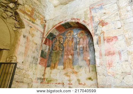 Frescos in the Saint Nicholas (Santa Clause) church in Demre Turkey. It's an ancient Byzantine Church