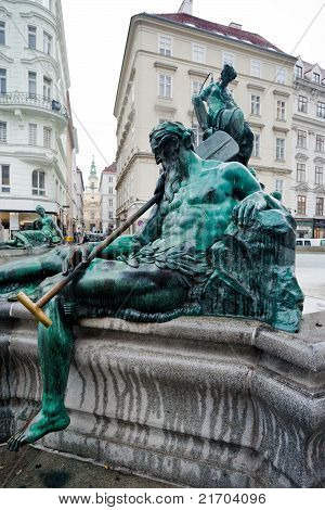 statue of Donnerbrunnen fountain (Allegory of Enns river) Vienna Austria poster