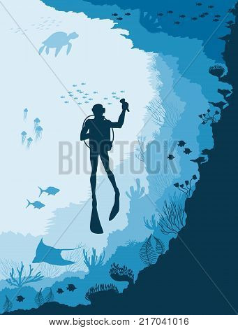 Silhouette of diver and Underwater wildlife, jellyfish, fish on a blue sea background.