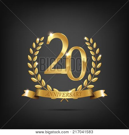 Vector anniversary design element. 20 anniversary golden symbol. Golden laurel wreaths with ribbons and twentieth anniversary year symbol on dark background.
