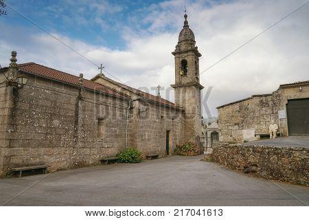 PONTEVEDRA, SPAIN - SEPTEMBER 9, 2017: Church Santa Maria del Alba on the Camino de Santiago trail close to Pontevedra on September 9, 2017 in Galicia, Spain