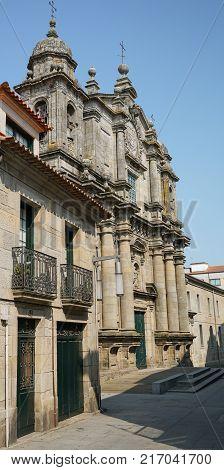 PONTEVEDRA, SPAIN - SEPTEMBER 8, 2017: Old church Santa Clara, sights of Pontevedra on the Camino de Santiago trail on September 8, 2017 in Spain