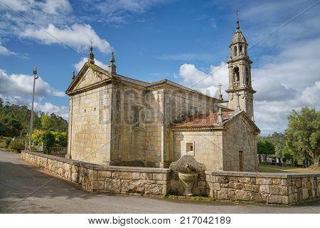BARRO, SPAIN - SEPTEMBER 9, 2017: Church San Mamede da Portela in Barro, a small village on the Camino de Santiago trail close to Pontevedra on September 9, 2017 in Galicia, Spain