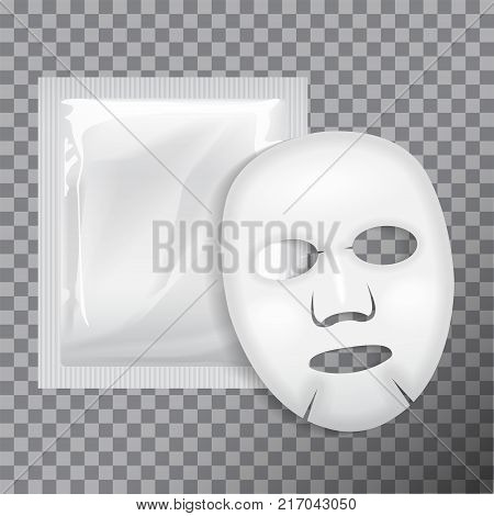 Facial Mask Cosmetics Package . Vector package design for face mask on transparent background for your design