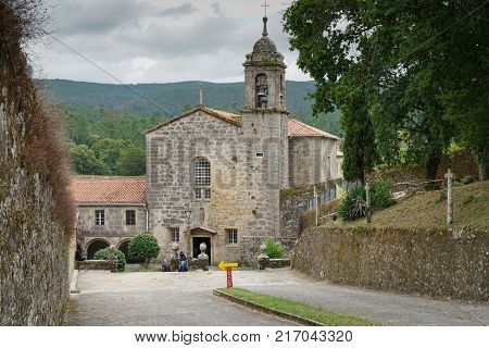 PADRON, SPAIN - SEPTEMBER 10, 2017: Convento de Herbon on the Camino de Santiago trail close to Padron on September 10, 2017 in Galicia, Spain