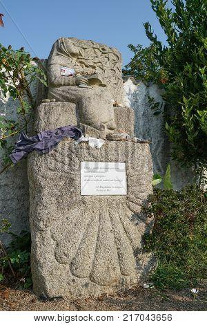 O PORRINO, SPAIN - SEPTEMBER 7, 2017: Pilgrimage memorial on the Camino de Santiago trail between O Porrino and Redondela on September 7, 2017, in Spain, Europe