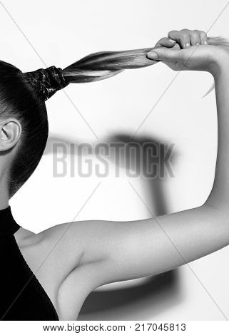 Fashion Portrait Of Beautiful Young Woman With Ponytail Hairstyle. Pony Tail Straight Hair, Catwalk