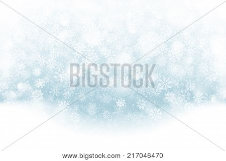 Merry Christmas Falling Snow Effect with Realistic Vector Snowflakes Overlay on Light Muted Blue Background. Xmas, Happy New Year, Noel, Yule Winter Season Holidays Abstract Art Illustration