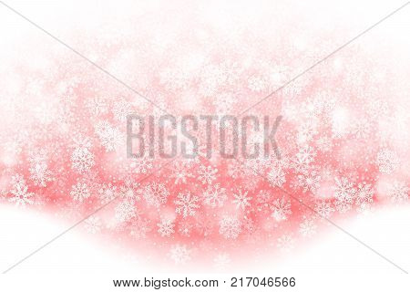 Merry Christmas Falling Snow Effect with Realistic Vector Snowflakes Overlay on Light Muted Red Background. Xmas, Happy New Year, Noel, Yule Winter Season Holidays Abstract Art Illustration