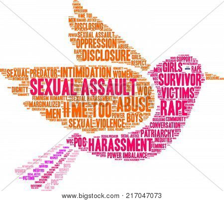 Sexual Assault Word Cloud On A White Background.