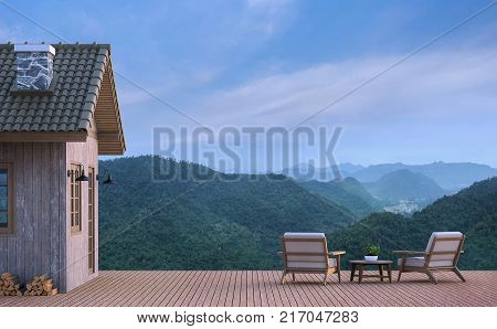 Cabin house with mountain view 3d rendering image.There are wood floor.Furnished with fabric and wooden furniture. There are wooden railing overlooking the surrounding nature and mountain