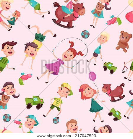 Seamless pattern with kids or children. Girl on skipping rope or holding air balloon, riding rocking horse, boy on handstand or with ball, lorry or car. Cartoon childhood, school, kindergarten theme
