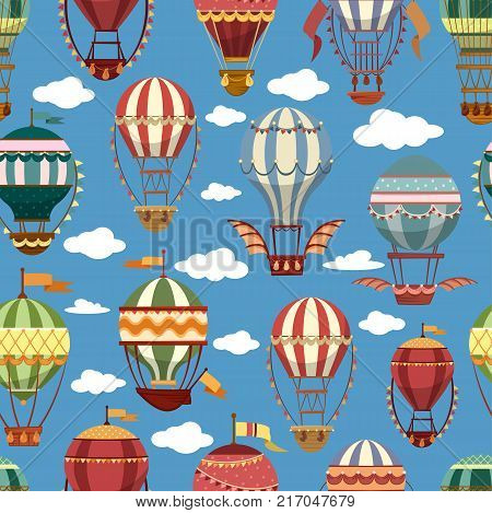 Hot air montgolfier balloons in sky with clouds. Old or vintage, retro flying striped transport for journey or travel, tourism trip. Airship recreation or leisure. Outdoor sport theme.