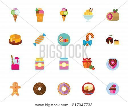 Dessert icon set. Can be used for topics like sweets, unhealthy eating, cooking, confectionary, festive table, children party treatment