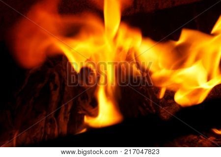 Fire with flames of a barbecue