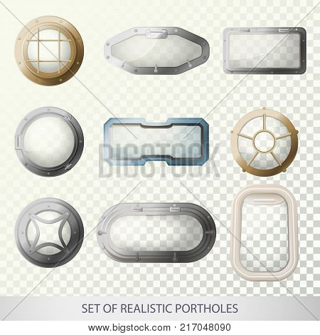 Set of isolated porthole for plane or bull s-eye window for ship or sea, ocean vehicle, glass with metal frame for submarine. Transport and travel, boat and airplane, nautical and sail theme