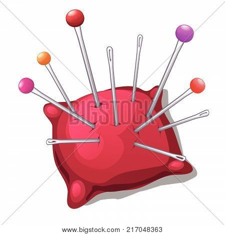 Pincushion with needles and pins isolated on white background. Set sewing studio or tailoring atelier. Vector cartoon needle cushion close-up illustration.