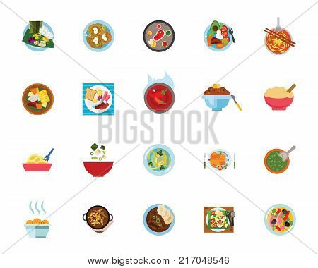 Meal icon set Can be used for topics like restaurant, national cuisine, cooking, gastronomy, dinner