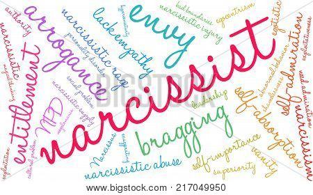 Narcissist Word Cloud On A White Background.
