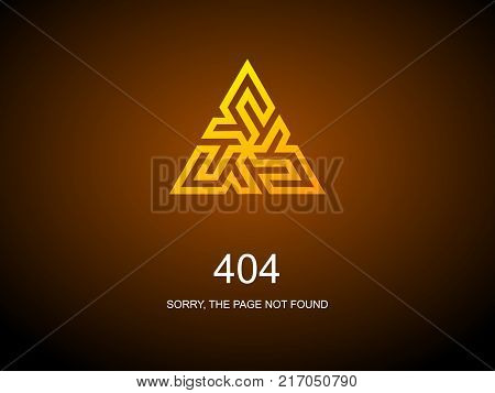 404 Error Page. Illustration for Website Error Page. Page not found. Gold sign triangle on dark  background.