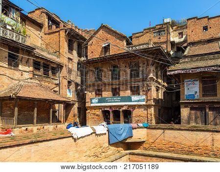 BHAKTAPUR NEPAL - September 24 2013: Details of the historical part of the city Bhaktapur.Bhaktapur has the best preserved palace courtyards and old city center in Nepal.