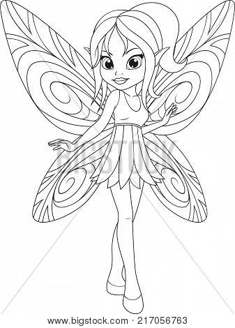 vector illustration, cute little fairy with wings, white background, coloring page