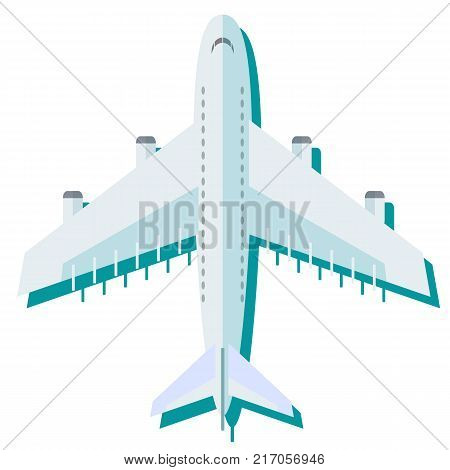 Airplane in the air vector illustration. Flying an airplane with a shadow underneath. Airplane view from above isolated from the background.
