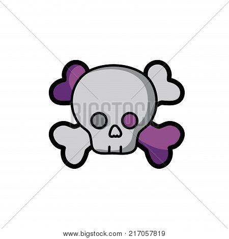 darger skull with bones to death symbol vector illustration