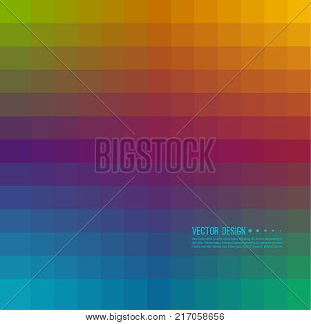 Abstract background with rhythmic overlapping squares. Transition and gradation of color. Vector blend gradient for illustrations, covers and flyer. Pixel blue, purple, orange, green.