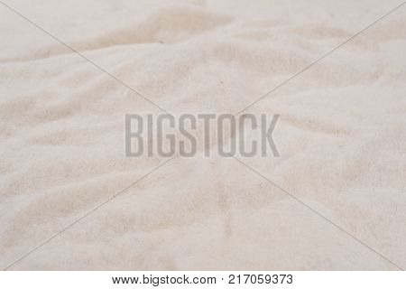 White background of non-woven natural woolen material