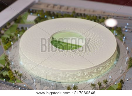 December 4 2017 Moscow Russia. The mock-up of the Qatar Foundation Stadium at which the matches of the FIFA World Cup 2022 in Qatar will be held.