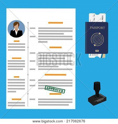 Vector illustration visa stamping approved. Passport or visa application. Travel immigration stamp