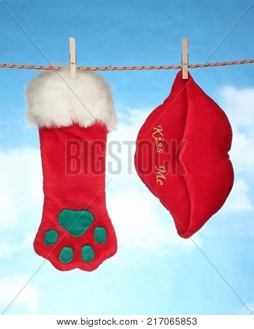 happy Merry X mas Hanging christmas decoration hart and santa socks.