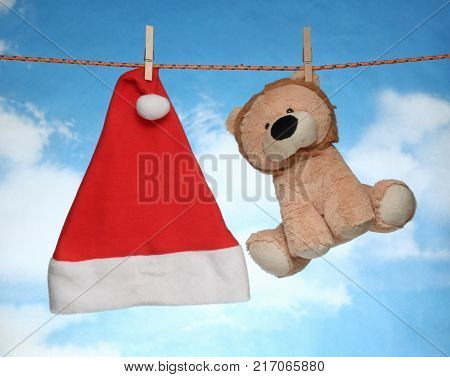 happy Merry X mas Hanging christmas decoration Christmas hat and doll.