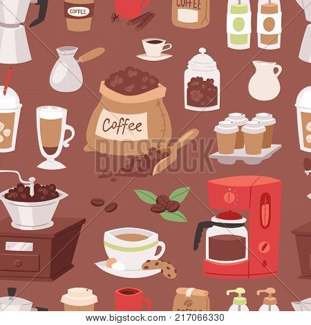 Coffee drink cartoon pot devices and morning beverage coffeemaker espresso cup, desserts coffeine product vector seamless pattern background. Americano latte macchiato restaurant menu glass mug.