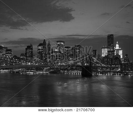Brooklyn Bridge And Nyc Skyline At Sunset
