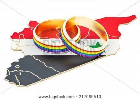 Iraqi map with LGBT rainbow rings 3D rendering