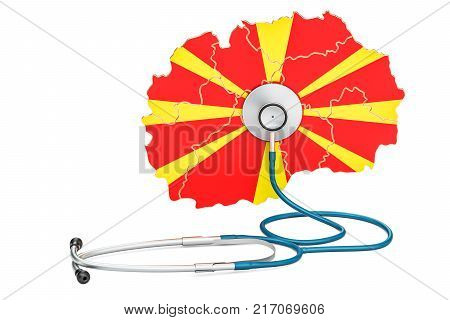 Macedonian map with stethoscope national health care concept 3D rendering