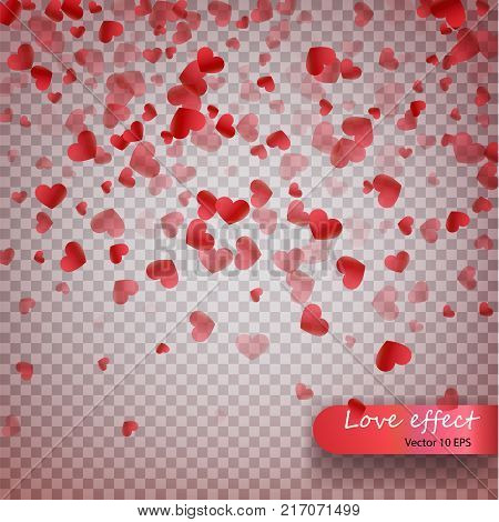 Heart Confetti Of Valentines Petals Falling On Transparent Background. Valentines Day Background Of