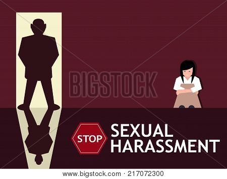 Sexual harassment poster with sad young girl and man silhouette in the doorway. World social gender problem, womens right and sex discrimination vector illustration.