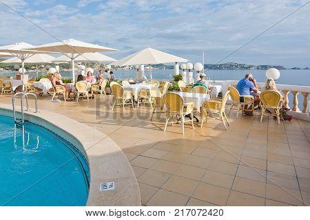 CALA FORNELLS MALLORCA BALEARIC ISLANDS SPAIN - SEPTEMBER 27 2016: Tortuga restaurant Art Nouveau style Cala Fornells on a sunny day on September 27 2016 in Cala Fornells Mallorca Balearic islands Spain.