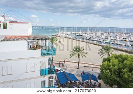 MALLORCA, BALEARIC ISLANDS, SPAIN - SEPTEMBER 22, 2017: Can Pastilla beach view from above on September 22, 2017 in Mallorca, Balearic islands, Spain.