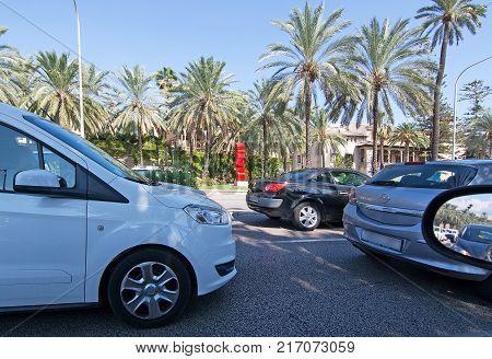 MALLORCA, BALEARIC ISLANDS, SPAIN - SEPTEMBER 29, 2017: Traffic jam on Paseo Maritimo on a sunny day in Palma de Mallorca on September 29, 2017 in Mallorca, Balearic islands, Spain.