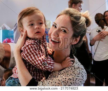 LOS ANGELES - NOV 26:  Hayden Joel Henricks, Ashley Jones at the Amelie Bailey 2nd Birthday Party at Private Residence on November 26, 2017 in Studio City, CA