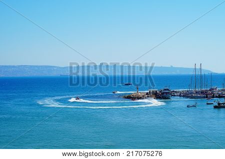 View from old city of Acre (Akko Acco) with the marine and open sea Israel.