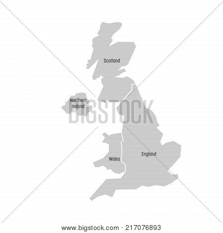 United Kingdom, aka UK, of Great Britain and Northern Ireland map. Divided to four countries - England, Wales, Scotland and NI. Simple flat vector illustration.