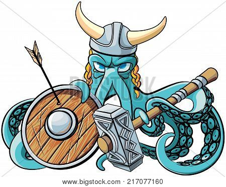 Vector colourful illustration of octopus in the horned viking helmet with battle hammer and wooden shield in his tentacles isolated on white background. File doesn't contains gradients blends transparency and strokes or other special visual effects.