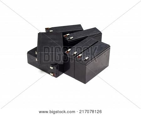 many old battery expired for ups - isolated for white background
