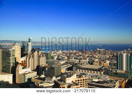 SAN FRANCISCO, CALIFORNIA, USA - OCTOBER 25, 2017: Downtown San Francisco on sunny day